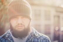 man with a heavy beard