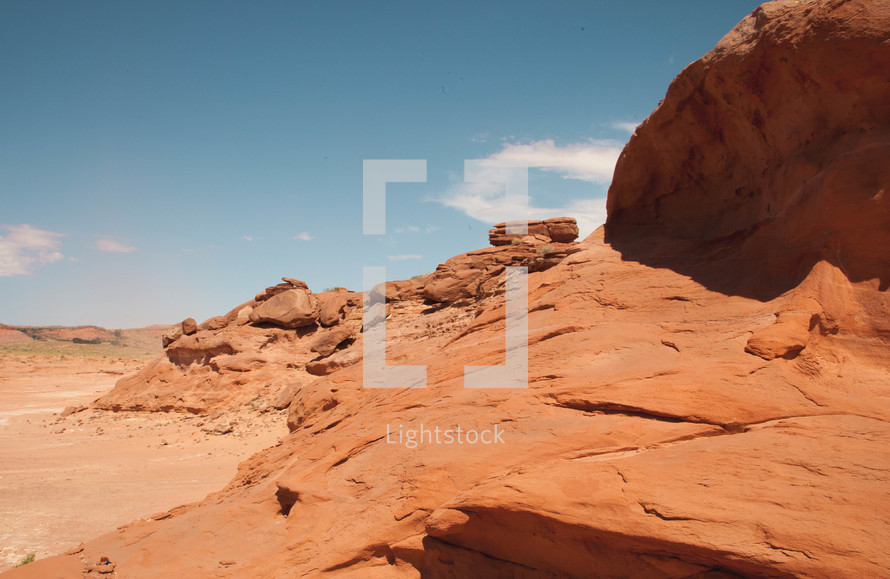 Sand and sandstone rocks.