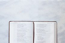 A Bible on marble countertop open to Proverbs