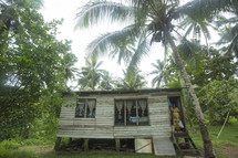 small cabin house on a tropical island