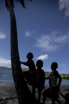 Silhouette of children leaning on a palm tree by the ocean.