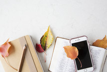 fall leaves on Bible, cellphone, and journal