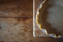 an empty pie crust