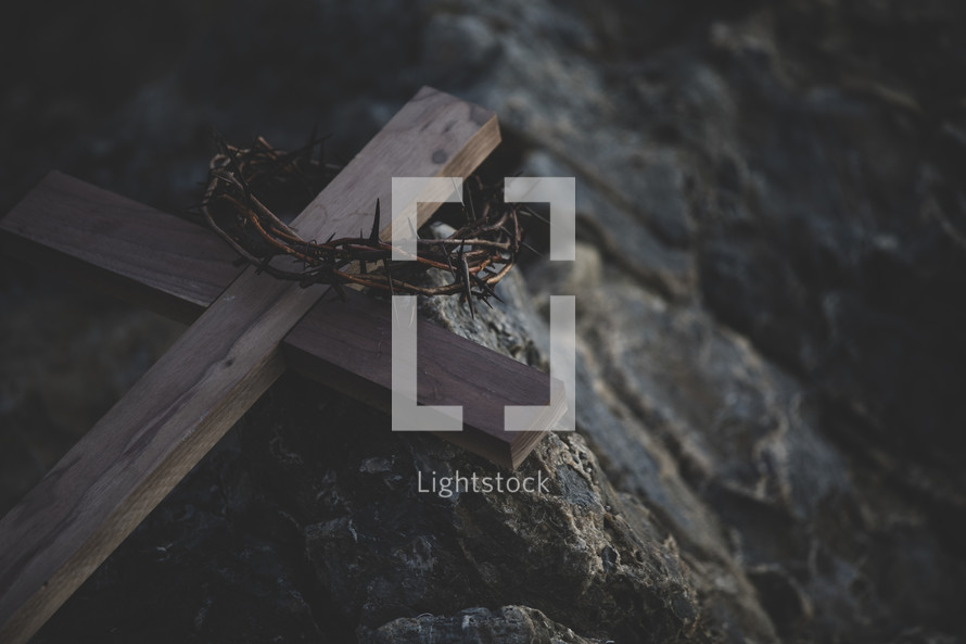 wooden cross and crown of thorns