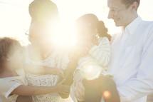 a loving family, intense sunlight