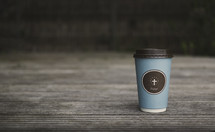 coffee cup on a wood background
