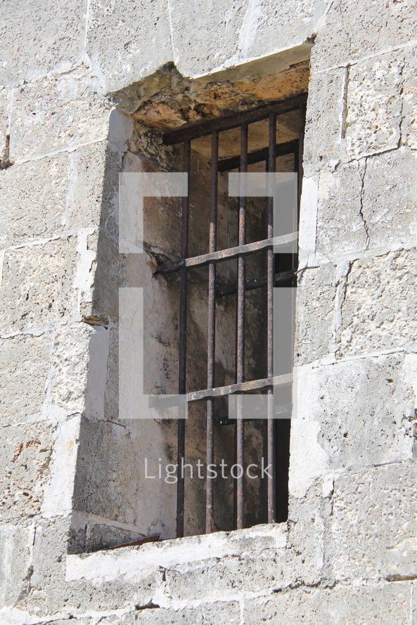 Bars on an ancient castle window opening