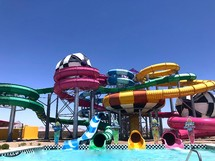water slides at a waterpark
