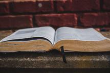 open Bible on sidewalk