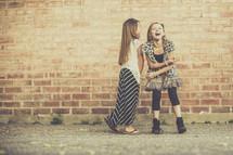 little girls giggling