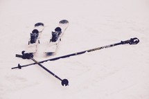 skis in the snow