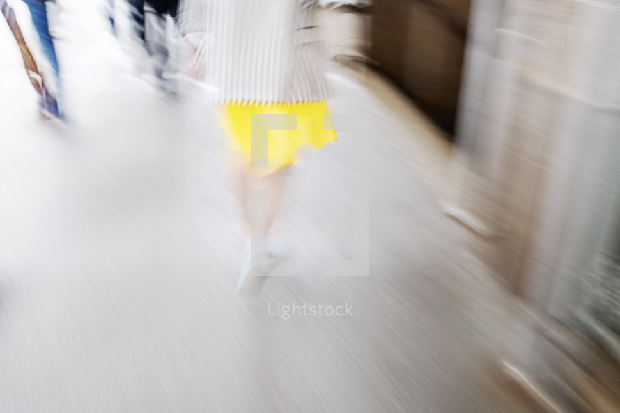blur of people passing by