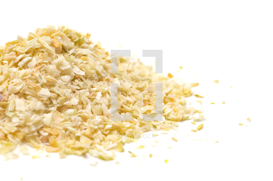 Dried Minced Onions on a White Background