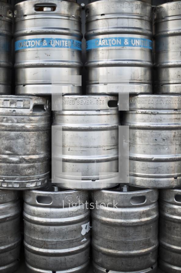 stacked kegs