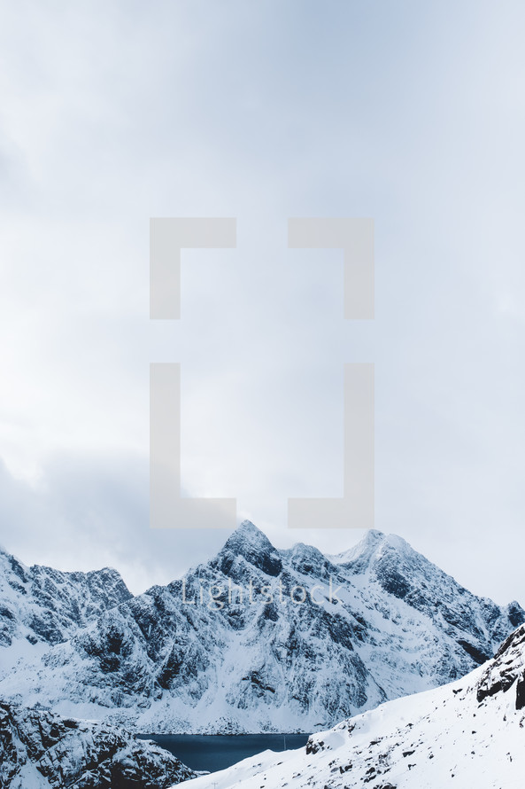 jagged snowy mountains