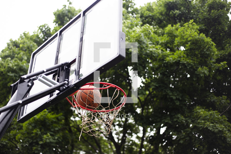 basketball going in the net