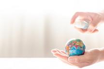 hand sanitizer on the world