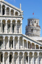 The Leaning tower of Pisa and the Pisa Cathedral