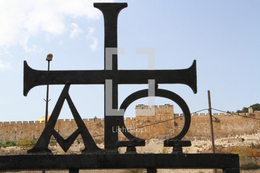 Alpha and Omega sign framing the Eastern Gate of the Temple Mount
