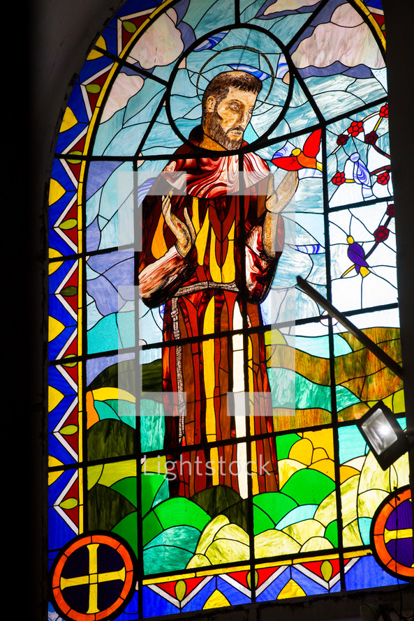 Saint Francis stained glass window