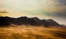 A jagged mountain range.