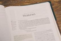 Bible opened to Hebrews
