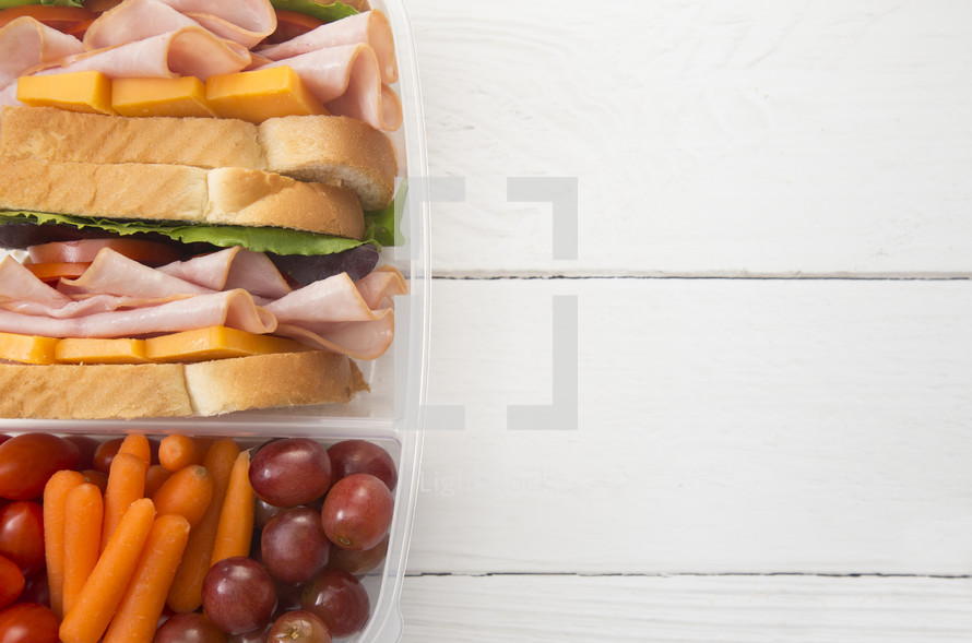 packed healthy school lunch