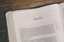 Bible opened to Ruth