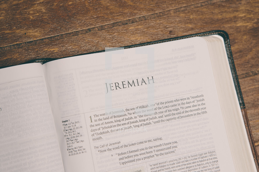 Bible opened to Jeremiah