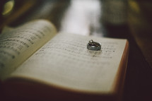 Wedding bands on a the pages of a Bible.