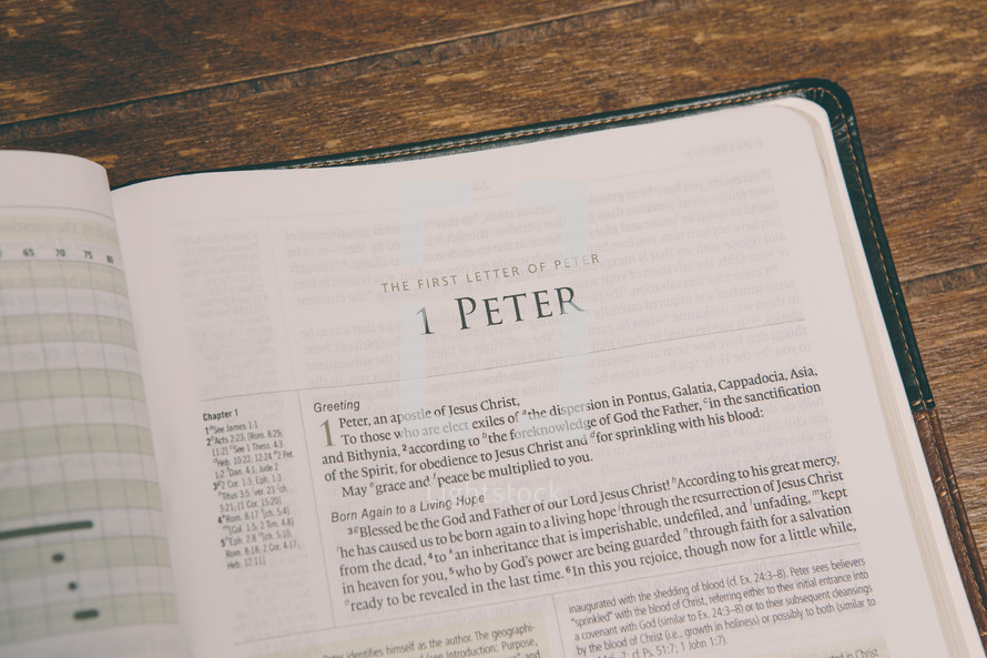 Bible opened to 1 Peter