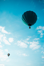 Aquamarine hot air balloons in flight with a cloudy blue sky