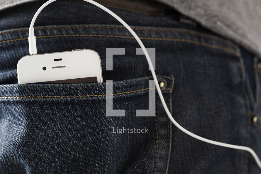 Ipod in a back pocket.