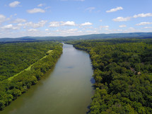 aerial view over a river
