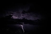 lightning in a sky at night