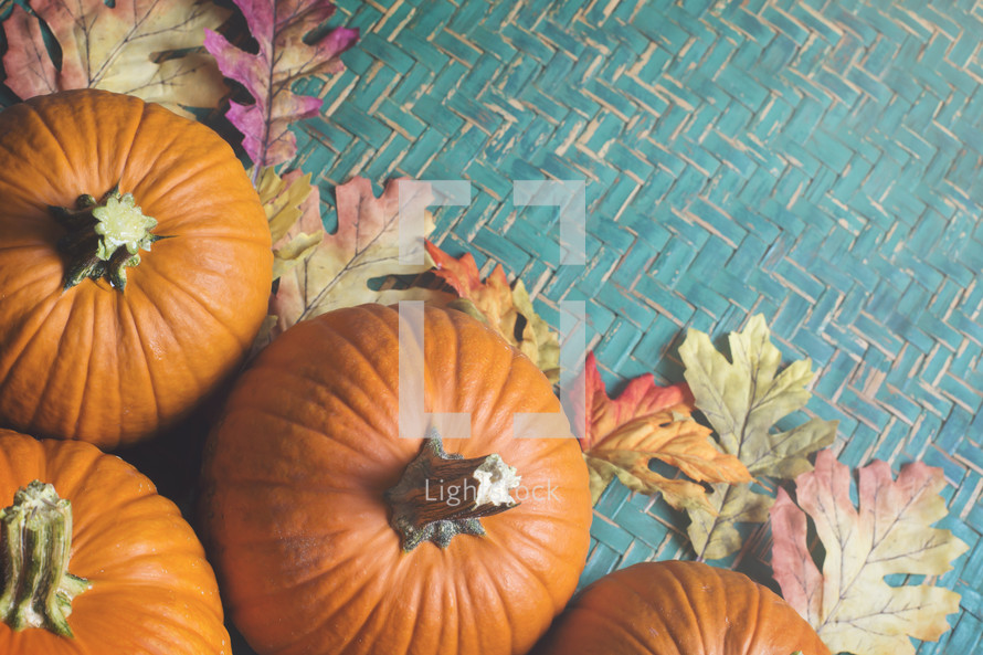 pumpkins and basket weave
