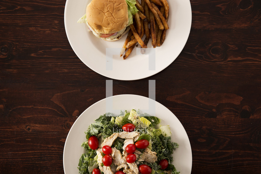 food choices, burger and fries or a salad