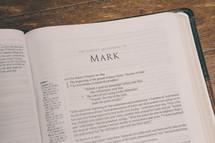 Bible opened to Mark