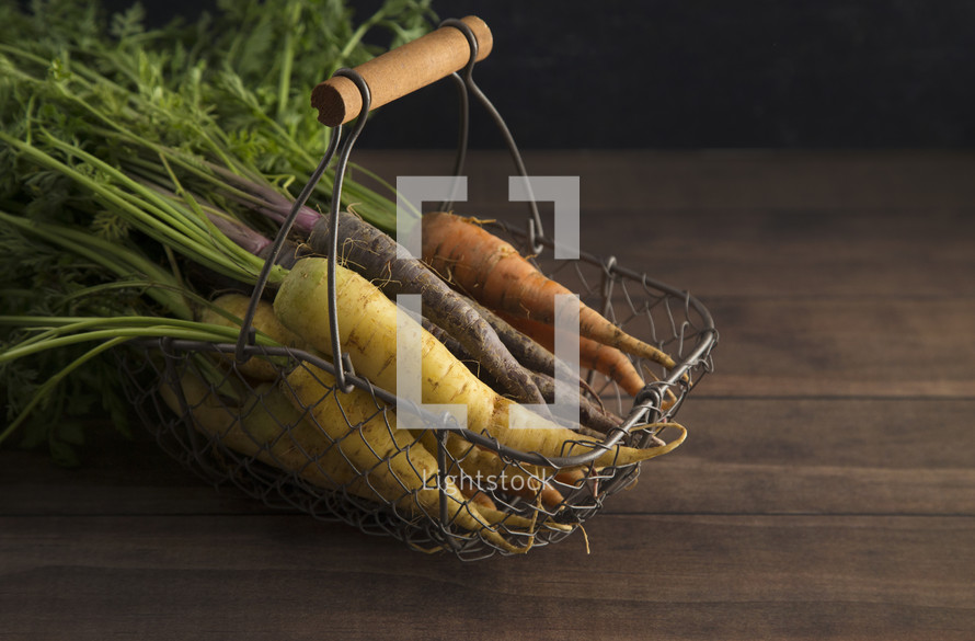 carrots in a wire basket