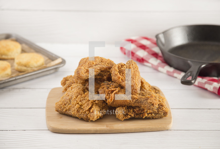 Classic Southern Fried Chicken on a White Wood Table