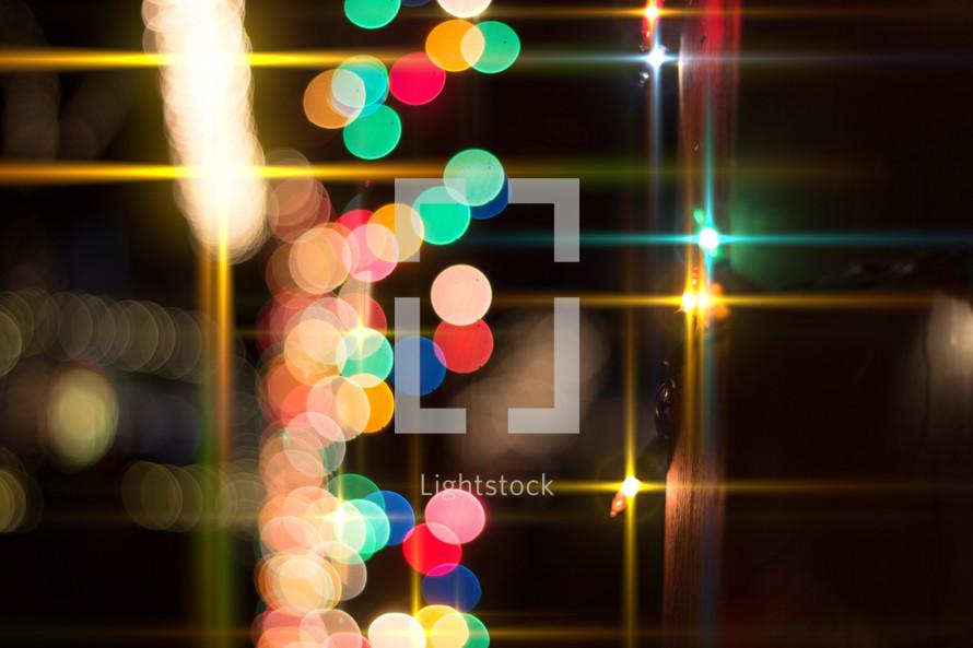 colored Christmas lights at night