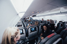 church group on an airplane