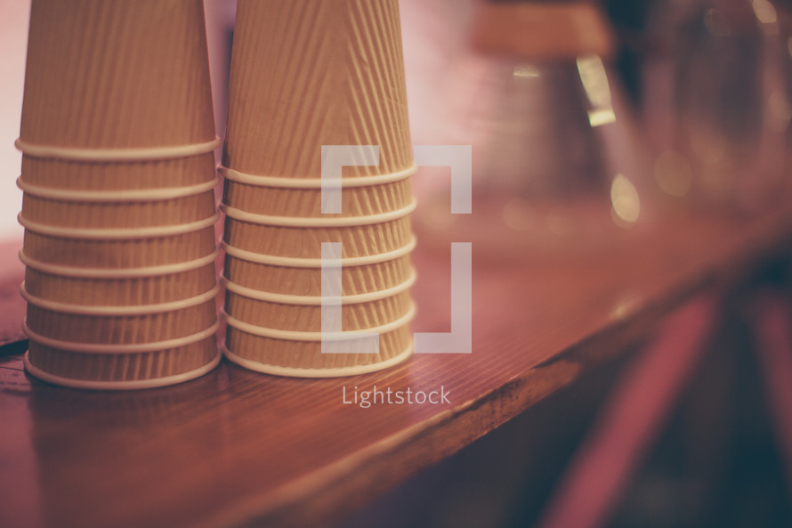 stacked paper cups