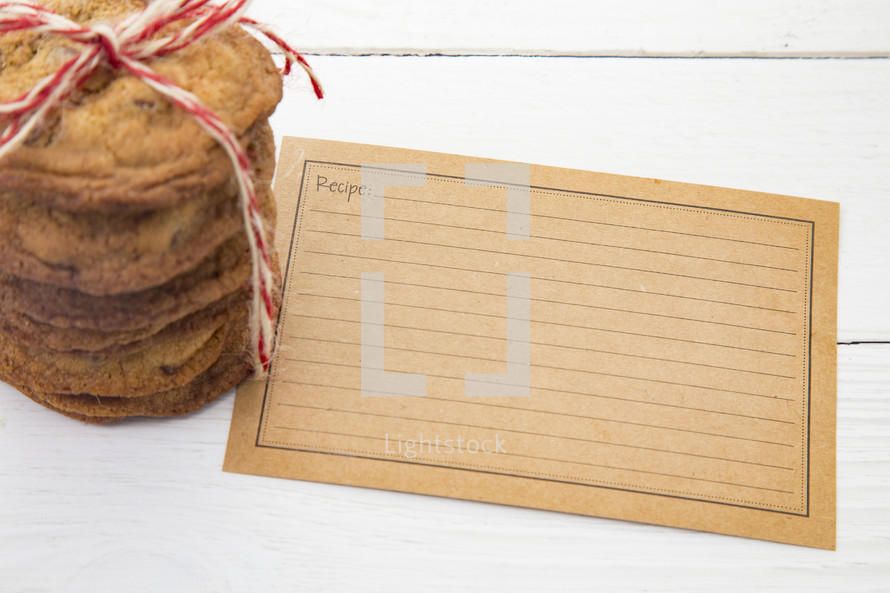 stack of cookies and recipe card