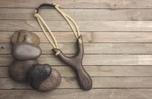 slingshot and rocks