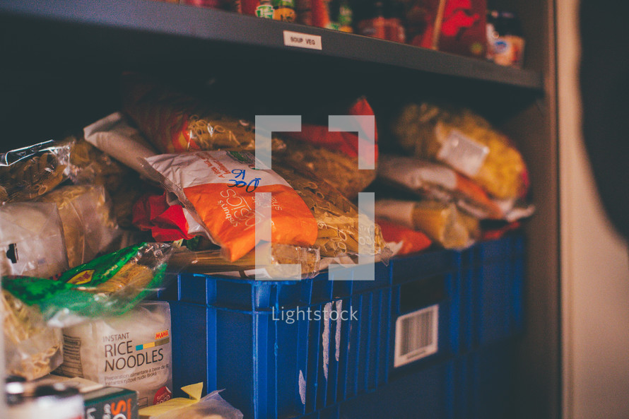 food in a pantry