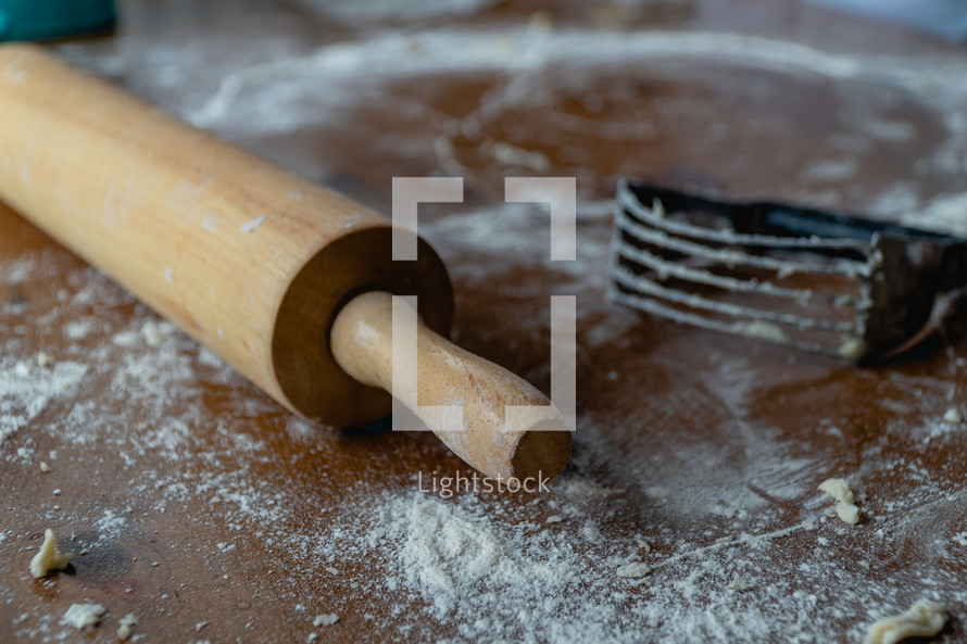 rolling pin and flour