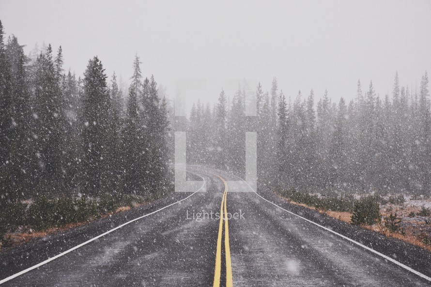 falling snow over a road
