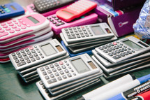 stack of calculators