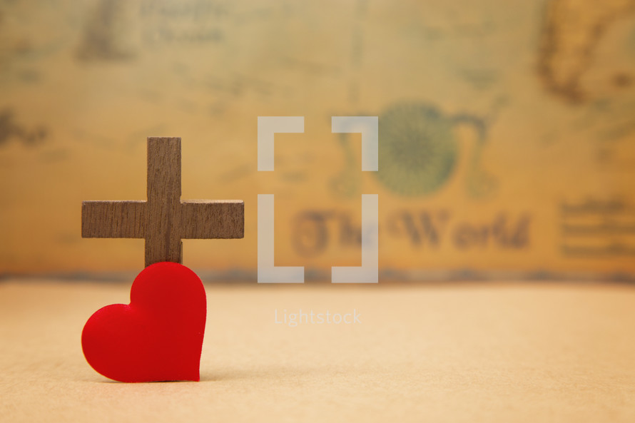 For God so loved the world, - cross and red heart on a map